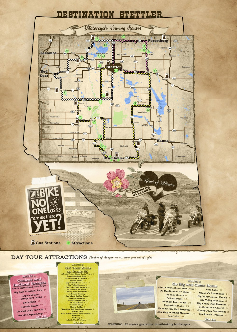 Motorcycle tour is Stettler route